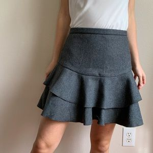 J. Crew Grey Wool Ruffle Mini Tiered Skirt 0